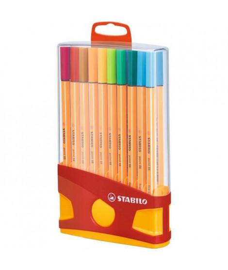 STABILO Color Parade - Etui distributeur de 20 Stylos Feutre Point 88 - Avec attache - Couleurs Assorties