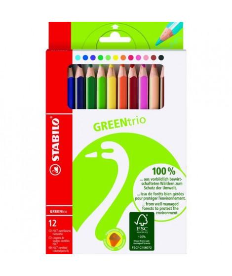 Etui carton x 12 crayons de couleur STABILO GREENtrio