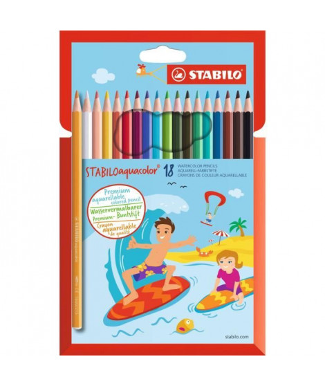 Etui de 18 crayons de couleur Aquarellable AQUACOLOR Mine 2,8 mm