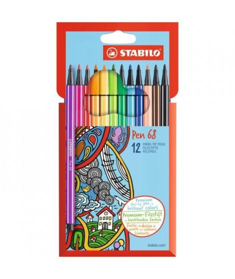 STABILO Etui carton de 12 feutres de coloriage Pen 68
