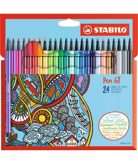 STABILO - Etui carton de 24 feutres de coloriage  Pen 68