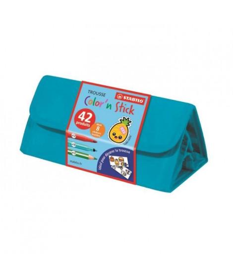 STABILO Trousse de coloriage Color'n stick - 22 feutres,12 crayons + 8 stickers textiles