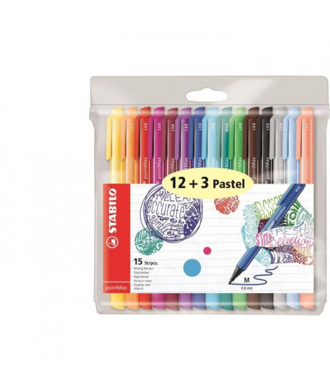 STABILO Pochette de 15 stylos-feutres PointMax - Encre a base d'eau - 12 coloris assortis + 3 pastels