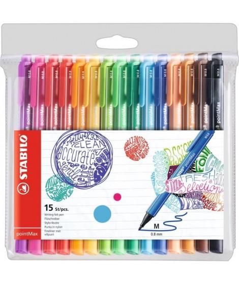 STABILO Pochette x 15 stylos-feutres pointMax