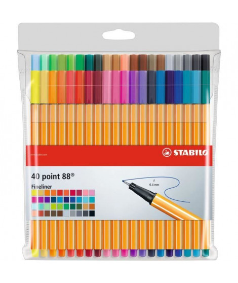 STABILO - Pochette x 40 stylos-feutres point 88 - pointe fine