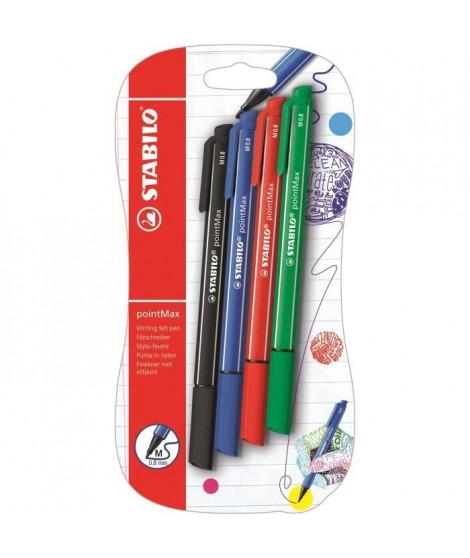Blister x 4 stylos-feutres STABILO pointMax - noir + bleu + rouge + vert