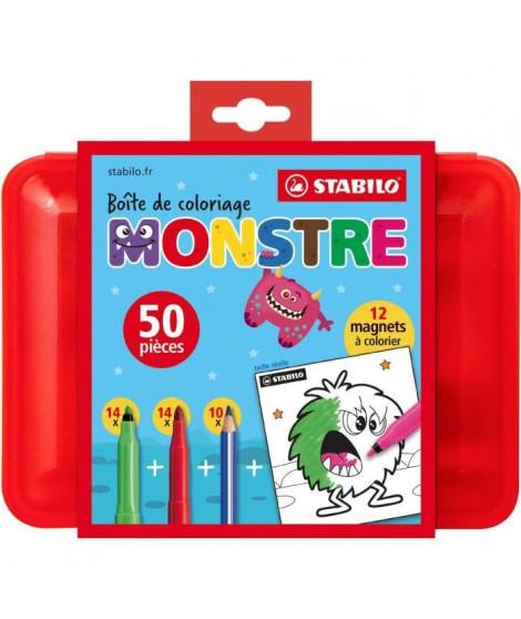 Boîte de coloriage MONSTRE STABILO x 50 pieces coloriage : 28 feutres + 10 crayons de couleur+ 12 magnets monstres a colorier
