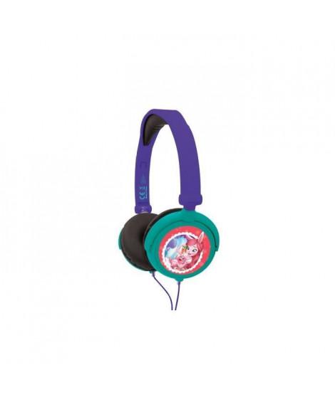LEXIBOOK - ENCHANTIMALS - Casque Audio Stéréo, Puissance sonore Limitée, Pliable et Ajustable