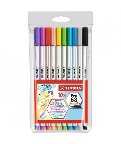 Pochette x 10 feutres pinceau STABILO Pen 68 brush