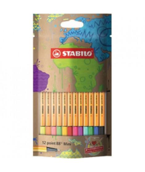 Sachet x 12 stylos-feutres STABILO point 88 Mini mySTABILOdesign