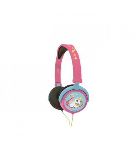 LEXIBOOK - LICORNE - Casque Audio Stéréo, Puissance sonore Limitée, Pliable et Ajustable