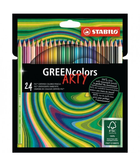 Etui carton x 24 crayons de couleur STABILO GREENcolors ARTY