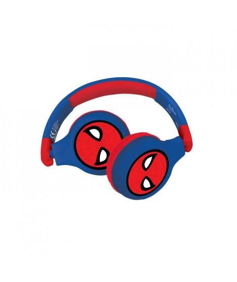 SPIDER-MAN Casque 2-en-1 Bluetooth et filaire confortable et pliable pour enfants avec limitation de son - LEXIBOOK