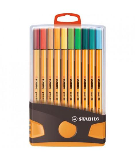 Colorparade x 20 stylos-feutres STABILO point 88 boîtier gris/orange