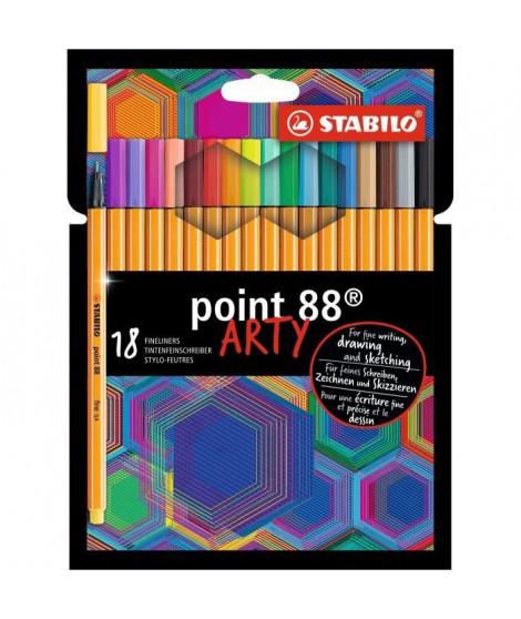 Etui carton x 18 stylos-feutres STABILO point 88 ARTY