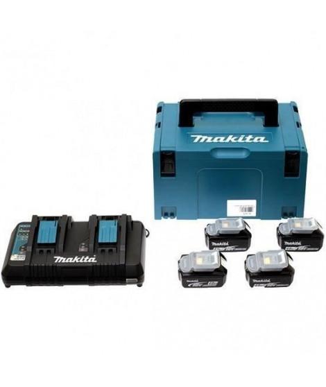 MAKITA Pack energie 18 V Li-ion - 4 batteries (4Ah) + 1 chargeur double en coffret Makpac - 197503-4