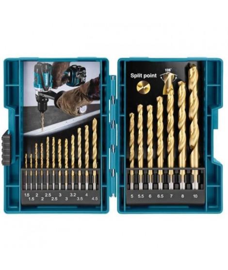 MAKITA D-67527 - Jeu de 19 forets métal HSS TIN  1,5-10 mm