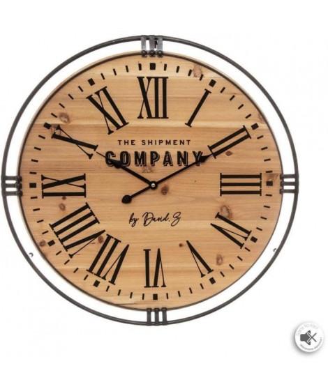 Pendule style colonial - Ø 58 x Ep. 4,5 cm - Marron