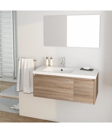 GIRONA Ensemble meubles de salle de bain simple vasque + miroir L 90 cm - Décor sonoma