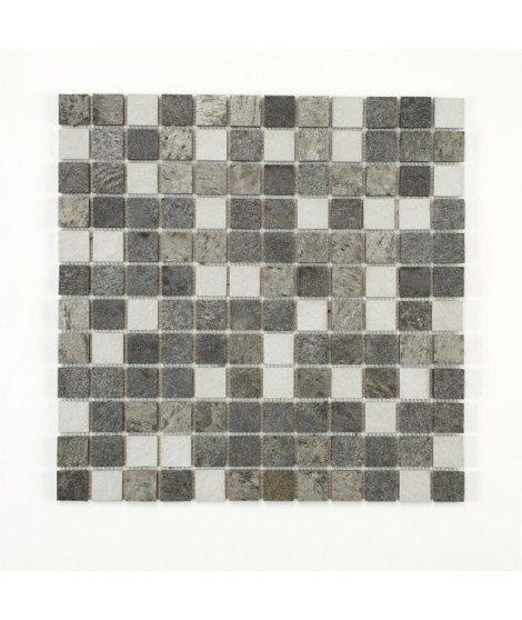 U-TILE Mosaique mixte resine & pierre 30 x 30 cm - carreau 2,5 x 2,5 cm - mixte pierre resine blanc