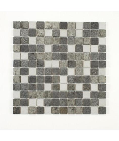 U-TILE Mosaique mixte resine & pierre 100 x 50 cm - carreau 2,5 x 2,5 cm - mixte pierre et resine blanche