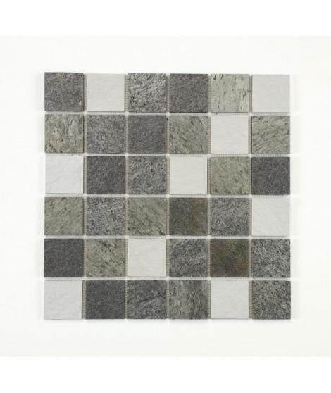 U-TILE Mosaique mixte resine & pierre 100 x 50 cm - 5 x 5 cm - mixte pierre et resine blanche