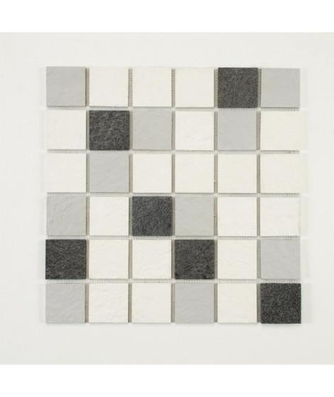 U-TILE Mosaique mixte resine & pierre 30 x 30 cm - carreau 5 x 5 cm - mixte pierre et resine blanche