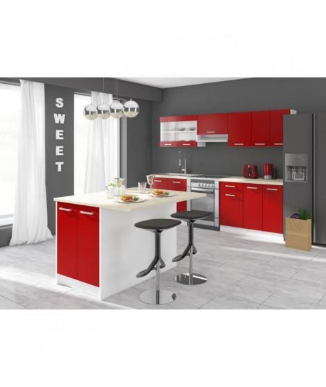 ULTRA Ilot de cuisine L 100 cm avec plan de travail - Rouge mat