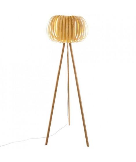 Lampadaire effet bois - H 150 cm - Beige sable