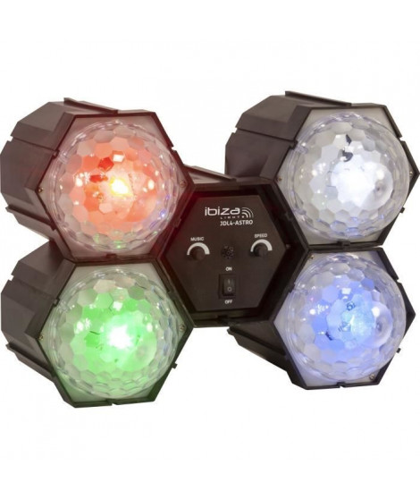 IBIZA LIGHT 15-1307 Séquenceur de lumiere avec 4 Astros a LED (Rouge, vert, bleu et blanc)