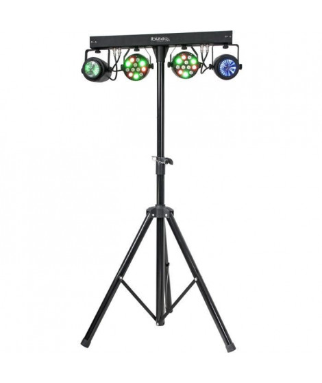 IBIZA DJLIGHT60 Support de lumiere avec 2 projecteurs par RGBW + 2 Moonflower a LED RGBWA