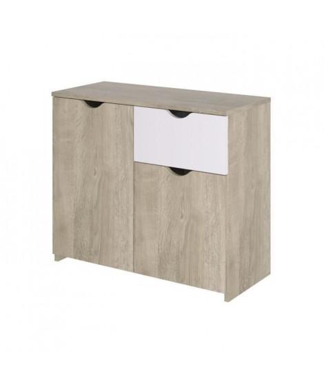 AUSTIN Buffet - 2 portes 1 tiroir - Décor chene et blanc - L 90 x P 40 x H 75 cm