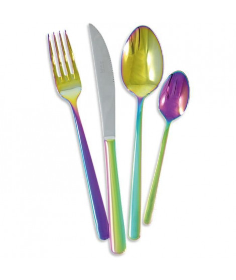 LEBRUN - 50142400 - Ménagere 24 pieces Rainbow 4mm Couteau Table