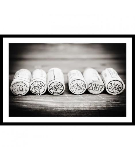 BOUCHONS Affiche encadrée 60x40cm - Bouchons noir & blanc