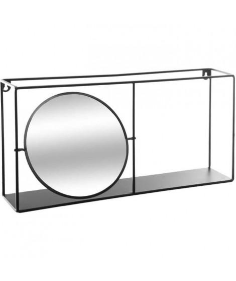 Miroir étagere en métal - L. 59 x l. 12 x H. 30 cm - Noir