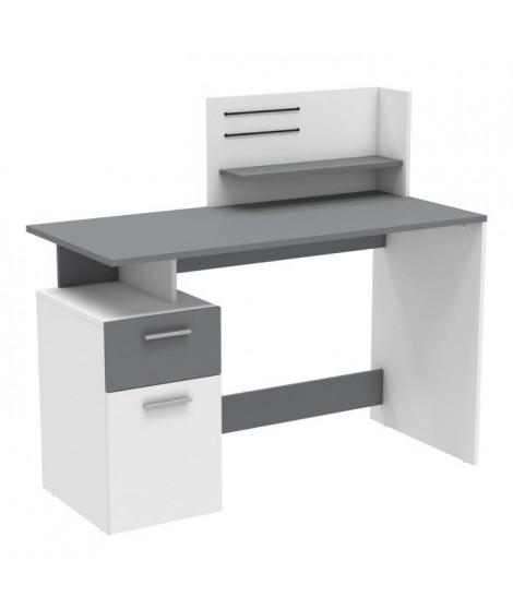 PLATON Bureau 1 porte 1 tiroir Blanc et gris - L 121,5 x H 109,7 x P 55,1 cm