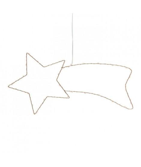 Comete en fil de cuivre 30 MicroLED lumiere fixe - 40x20 cm - Blanc chaud