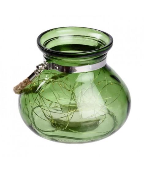 Vase en verre Vert jade - 40 MicroLED lumiere fixe - Blanc chaud