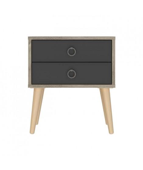 TONG Chevet 2 tiroirs - Décor chene et gris - L 40 x P 37 x H 45 cm