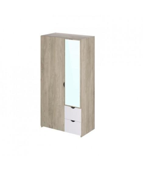 Armoire 2 portes 2 tiroirs miroir - Décor chene et blanc - L 100,6 x P 54 x H 195,1 cm - AUSTIN