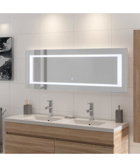 LOUNGITUDE Miroir rétro-éclairé - Cadre métal - L 140 cm - LED2