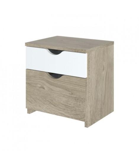 AUSTIN Chevet 2 tiroirs - Décor chene et blanc - L 43,3 x P 34,6 x H 43,8 cm