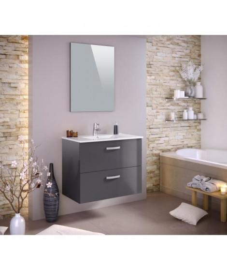 STELLA Ensemble salle de bain simple vasque avec miroir L 80 cm - Gris laqué brillant