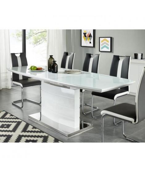 ICE Table a manger extensible de 8 a 10 personnes style contemporain laqué blanc brillant avec socle en acier - L 160-220 x l…