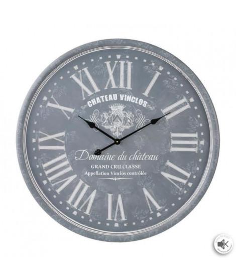 Pendule gravée - Ø 52 cm - Gris