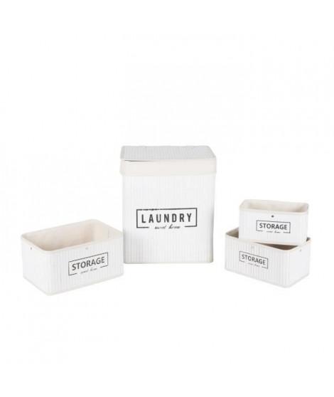 Lingere et 3 paniers en bambou et polyester - Blanc - 35x25x42 cm