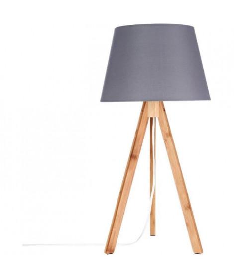 Lampe trépied - E14 - 40 W - H. 55,5 cm - Gris