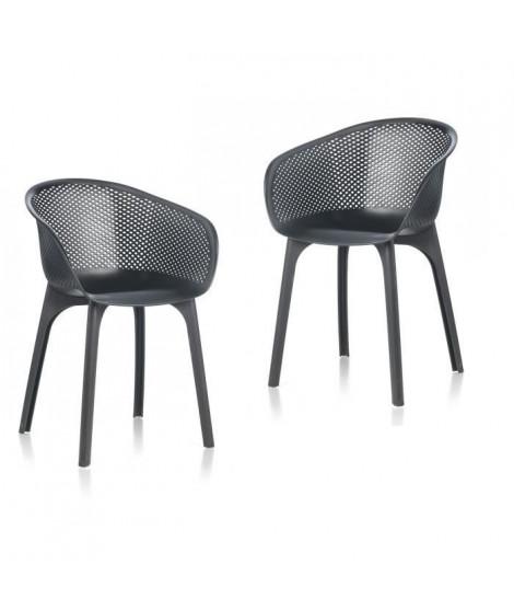 IDEA lot de 2 Chaises de jardin Nora Noir