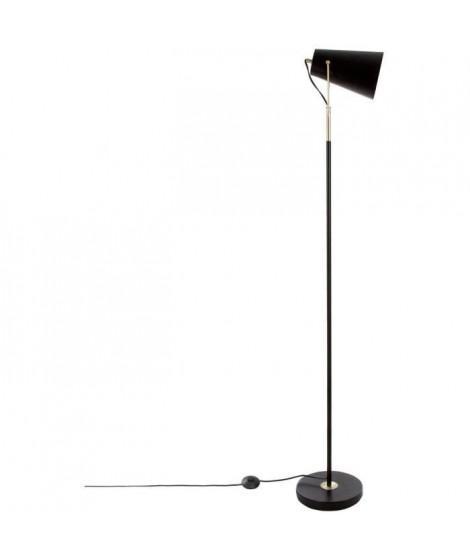 Lampadaire droit en métal - E27 - 60 W - H. 150 cm - Noir