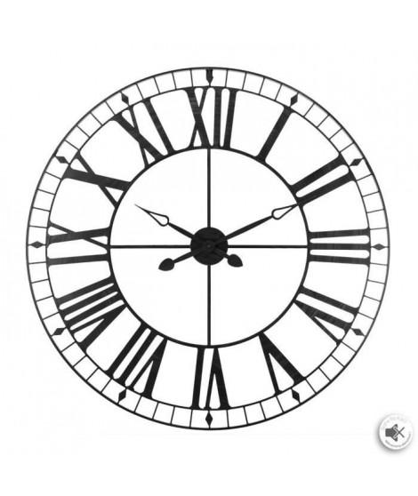Pendule vintage en métal - Ø 88 cm - Noir